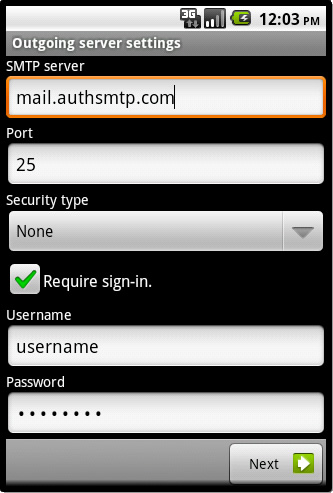 Android - Step 7 - Enter your AuthSMTP account details