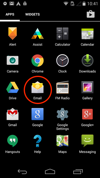 Android - Step 1 - Open the email app