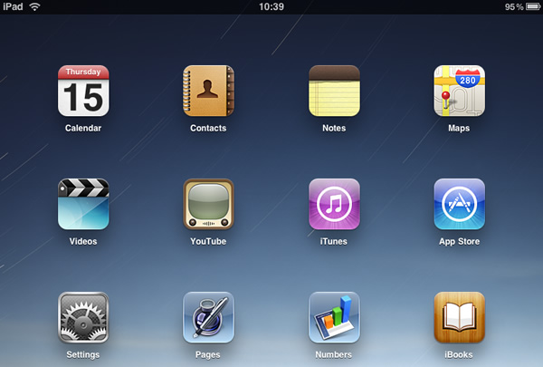 iPad - Step 1 - Click Settings from Homepage and then click 'Mail, Contacts, Calendars'
