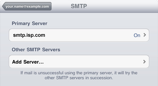iPad - Step 4 - Click Add Server