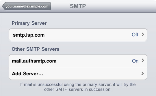 iPad - Step 9 - Enable new AuthSMTP server