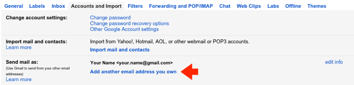 Gmail - Step 2 - Click Add another email address you own