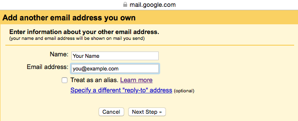 Gmail - Step 3 - Enter the name and email address you wish send from through AuthSMTP's outgoing servers