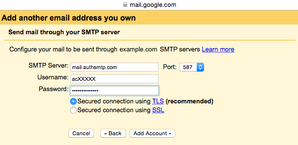 Gmail (Google Mail) authenticated SMTP server setup guide