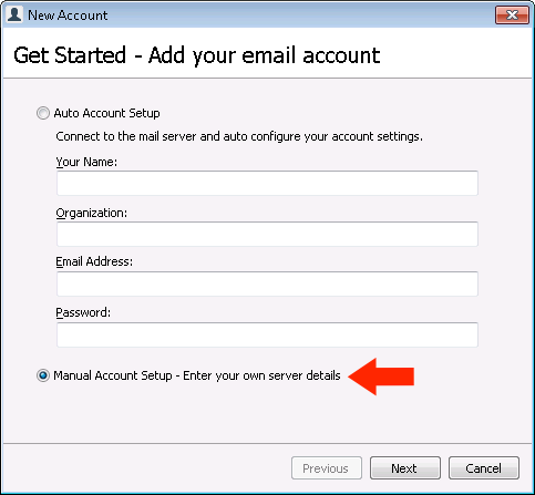 GroupMail 6 - Step 3 - Select Manual Setup