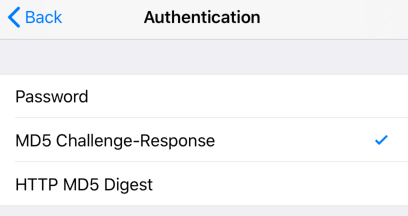 iPhone / iPod Touch iOS12 - Step 8 - Set Authentication Type