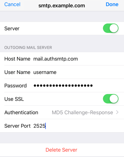 iPad iOS13 - Step 9 - Go back to the main Settings page and the setup of the authenticated outgoing email relay service is complete