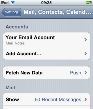 iPhone / iTouch iOS5 - Step 2 - Click email account you wish to add AuthSMTP outgoing email service to