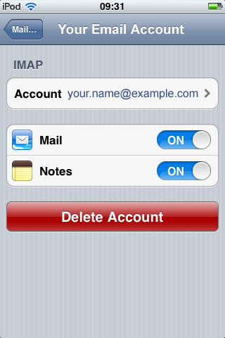 iPhone / iTouch iOS5 - Step 2a - Click Account