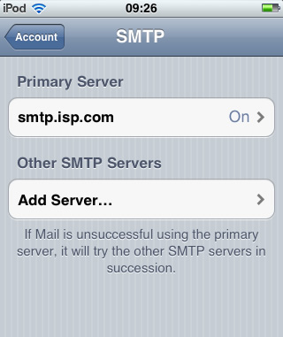 iPhone / iTouch iOS5 - Step 4 - Click on Primary SMTP Server