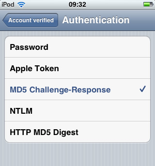 iPhone / iTouch iOS5 - Step 6 - Select MD5 Challenge-Response as the AuthSMTP Authentication method