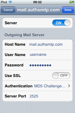 iPhone / iTouch iOS5 - Step 7 - Click on Server Port and change to the alternative SMTP port 2525, go back to the main Settings page and the setup of the authenticated outgoing email relay service is complete