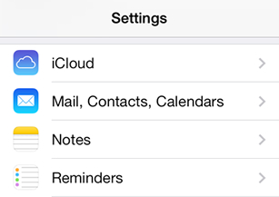 iPhone / iPod Touch iOS7 - Step 2 - Click 'Mail, Contacts, Calendars'
