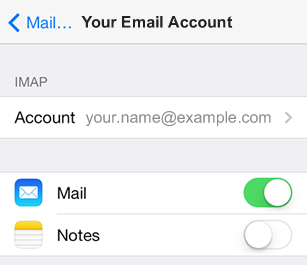iPad iOS8 - Step 4 - Click Account