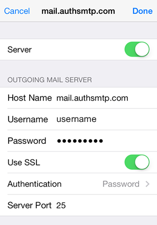 iPad iOS8 - Step 6 - Move slider to On, enter AuthSMTP outgoing mail server, enter AuthSMTP username and password, change Use SSL to Off and then click on Authentication