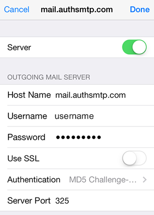 iPad iOS8 - Step 8 - Click on Server Port and change to the alternative SMTP port 2525, go back to the main Settings page and the setup of the authenticated outgoing email relay service is complete