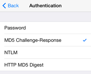iPad iOS9 - Step 7 - Select MD5 Challenge-Response as the AuthSMTP Authentication method