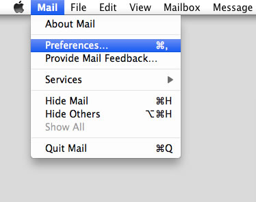 Leopard 10.5 - Mac Mail - Step 2 - Open Mail menu and click Preferences