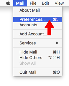 High Sierra 10.13 - Mac Mail - Step 2 - Open Mail menu and click Preferences