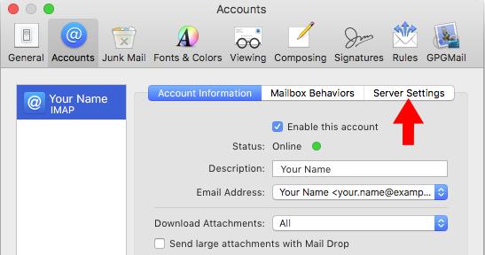 High Sierra 10 13 - Mac Mail - SMTP Server Setup