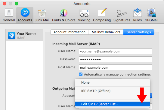 High Sierra 10 13 - Mac Mail - SMTP Server Setup