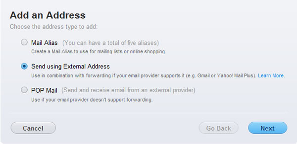 Apple Mobile Me - Step 5 - Choose Send using External Address