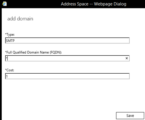 Exchange 2016 Smarthost Setup - Step 10 - Set permitted domains for address space