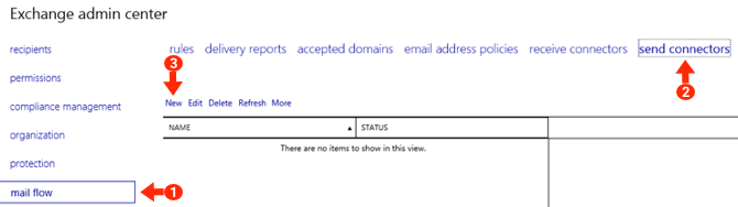 Exchange 2019 Smarthost Setup - Step 3 - Go to Mail Flow, Send Connectors, Add