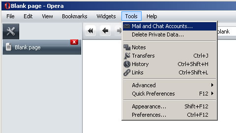 Opera v9 - Step 1 - Go to the Tools menu and click Mail and Chat Accounts