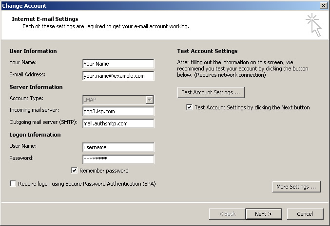 Outlook 2010 - Step 7 - Click Next and then Finish to complete setup of AuthSMTP outgoing email relay service