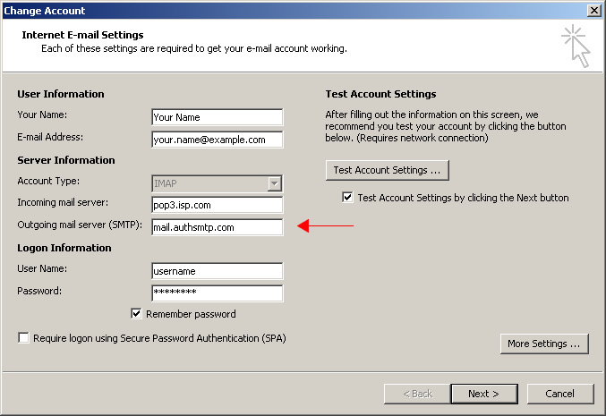 Outlook 2010 - Step 4 - Change outgoing mail server to AuthSMTP's and then click More Settings