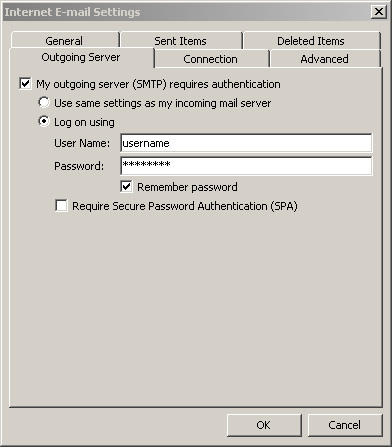 Outlook 2010 - Step 5 - Go to the Outgoing Server tab, tick outgoing server requires authentication and enter your AuthSMTP username and password