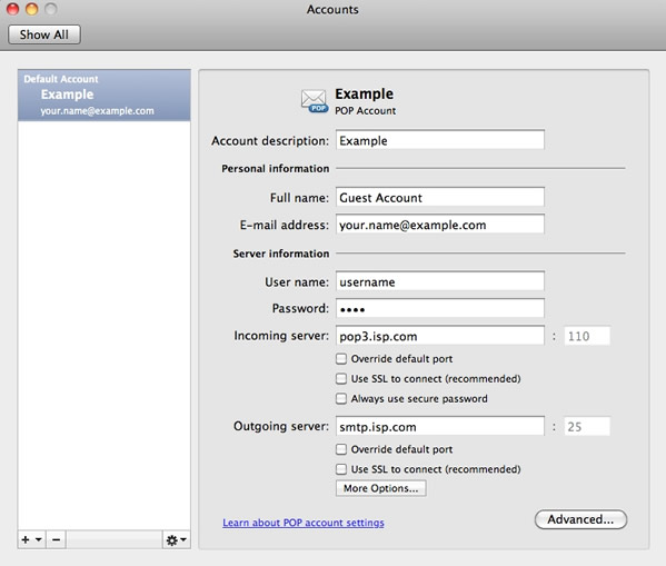 Outlook 2011 for Apple Mac OS X - Step 2 - Select your account