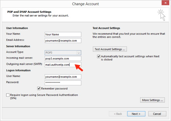 Outlook 2013 - Step 5 - Change outgoing mail server to AuthSMTP's and then click More Settings