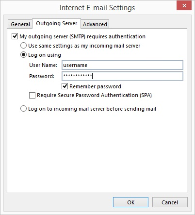 Outlook 2013 - Step 6 - Go to the Outgoing Server tab, tick outgoing server requires authentication and enter your AuthSMTP username and password