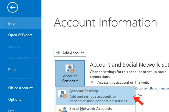 Outlook 2016 - Step 3 - Click Account settings