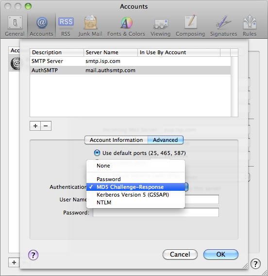 Snow Leopard 10.6 - Mac Mail - Step 5 - Set Authentication to MD5 Challenge-Response