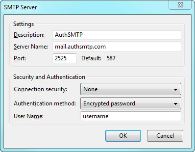 Thunderbird v17 - Step 3 - Enter AuthSMTP as Description, enter AuthSMTP's outgoing mail server, set port 25and then enter your AuthSMTP username, use secure connection should be set to No and then click OK