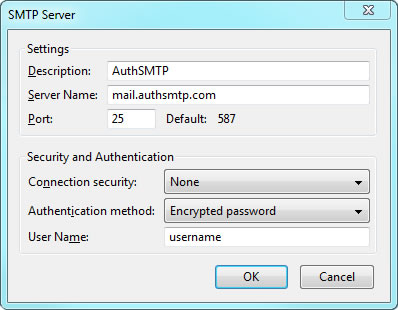 Thunderbird v24 - Step 3 - Enter AuthSMTP as Description, enter AuthSMTP's outgoing mail server, set port 25and then enter your AuthSMTP username, use secure connection should be set to No and then click OK