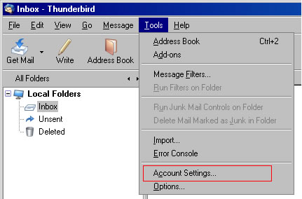 Thunderbird v2.0 - Step 1 - Go the Tools menu and click Accounts Settings
