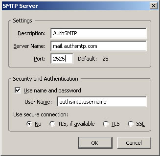 Thunderbird v2.0 - Step 3 - Enter AuthSMTP as Description, enter AuthSMTP's outgoing mail server, change the port to alternative port 2525, tick use and then enter your AuthSMTP username, use secure connection should be set to No and then click OK