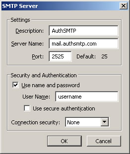 Thunderbird v3.0 - Step 3 - Enter AuthSMTP as Description, enter AuthSMTP's outgoing mail server, change the port to alternative port 2525, tick use and then enter your AuthSMTP username, use secure connection should be set to No and then click OK