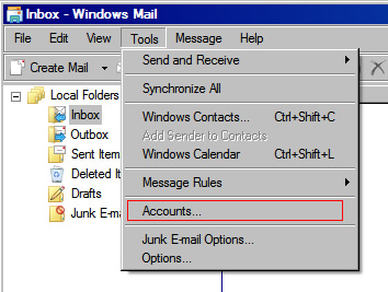 Vista Mail v6 - Step 2 - Go to the Tools menu and click Accounts