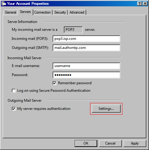 Vista Mail v6 - Step 4 - Change the Outgoing mail SMTP server to AuthSMTP's and then click Settings..
