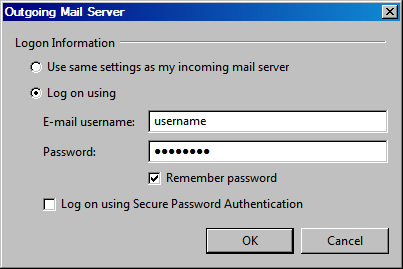 Vista Mail v6 - Step 5 - Enter your AuthSMTP username and password