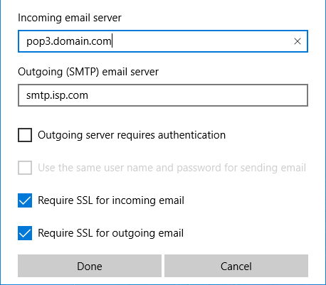 Windows 10 Mail App - Step 6 - Change the SMTP server settings for AuthSMTP.com