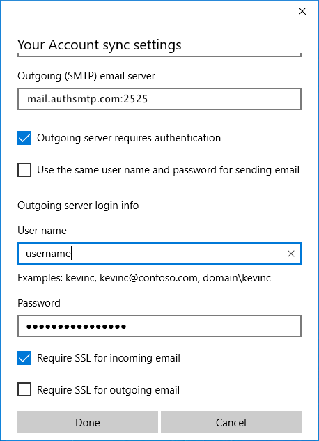 Windows 10 Mail App - Step 7 - Complete SMTP server setup
