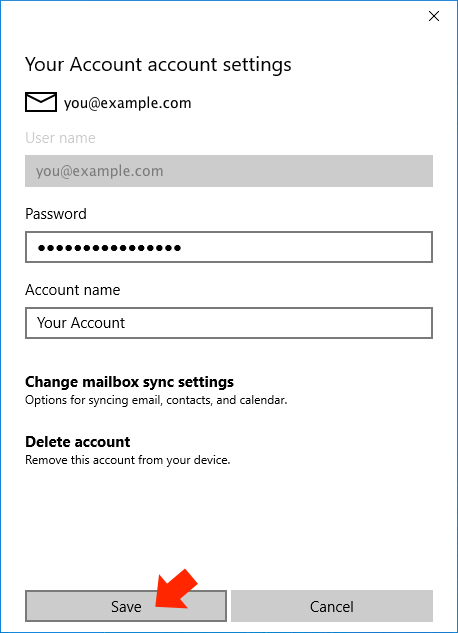 Windows 10 Mail App - Step 8 - Change default from address to AuthSMTP