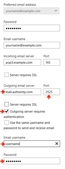 Windows 8 Mail App - Step 8 - Complete SMTP server setup