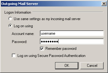 Windows Live Mail 2009 - Step 3 - Enter your AuthSMTP username and password, tick remember password and then click OK